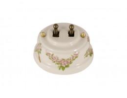 Выключатель двухрычажковый фарфоровый, цвет fiori rosa (розовые цветы), тумблер бронза