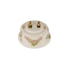 Выключатель двухрычажковый фарфоровый, цвет fiori rosa (розовые цветы), тумблер золото