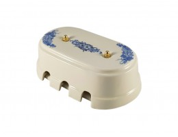 Коробка распаячная монтажная фарфоровая большая с шестью входами, цвет fiori viola (синие цветы), золотистая фурнитура