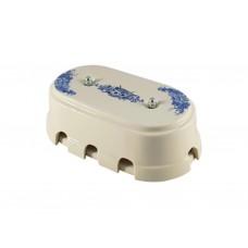 Коробка распаячная монтажная фарфоровая большая с восемью входами, цвет fiori viola (синие цветы), серебристая фурнитура