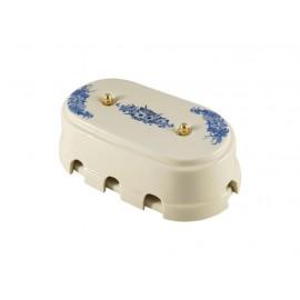 Коробка распаячная монтажная фарфоровая большая с восемью входами, цвет fiori viola (синие цветы), золотистая фурнитура
