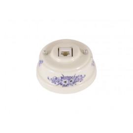 Розетка телефонная RJ 11 фарфоровая, цвет fiori viola (синие цветы), серебристая фурнитура