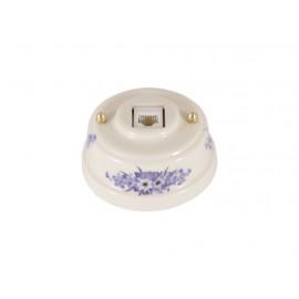 Розетка телефонная RJ 11 фарфоровая, цвет fiori viola (синие цветы), золотистая фурнитура