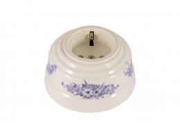 Розетка фарфоровая с/з, цвет fiori viola (синие цветы), серебристая фурнитура