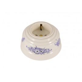 Розетка фарфоровая с/з, цвет fiori viola (синие цветы), золотистая фурнитура