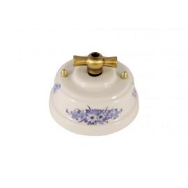 Выключатель (переключатель) фарфоровый поворотный одноклавишный проходной, цвет fiori viola (синие цветы), ручка бронза