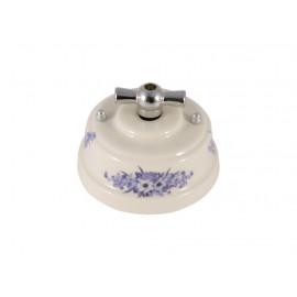 Выключатель фарфоровый поворотный двухклавишный, цвет fiori viola (синие цветы), ручка серебро