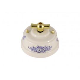 Выключатель фарфоровый поворотный двухклавишный, цвет fiori viola (синие цветы), ручка золото