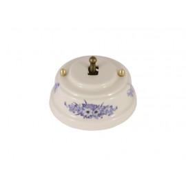 Выключатель однорычажковый фарфоровый, цвет fiori viola (синие цветы), тумблер бронза