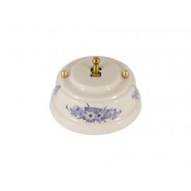 Выключатель однорычажковый фарфоровый, цвет fiori viola (синие цветы), тумблер золото