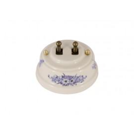 Выключатель двухрычажковый фарфоровый, цвет fiori viola (синие цветы), тумблер бронза