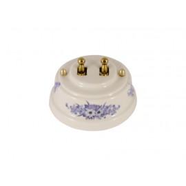 Выключатель двухрычажковый фарфоровый, цвет fiori viola (синие цветы), тумблер золото