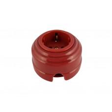 Розетка фарфоровая проходная с/з, цвет granato (гранатовый), золотистая фурнитура