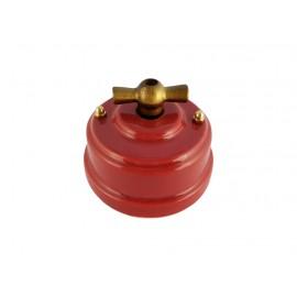 Выключатель фарфоровый поворотный одноклавишный, цвет granato (гранатовый), ручка бронза