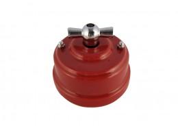 Выключатель (переключатель) фарфоровый поворотный одноклавишный проходной, цвет granato (гранатовый), ручка серебро