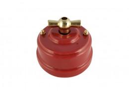 Выключатель фарфоровый поворотный двухклавишный, цвет granato (гранатовый), ручка золото