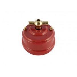 Выключатель (переключатель) фарфоровый поворотный одноклавишный проходной, цвет granato (гранатовый), ручка золото