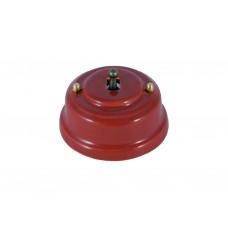 Выключатель (переключатель) фарфоровый однорычажковый проходной на 2 направления, цвет granato (гранатовый), тумблер бронза
