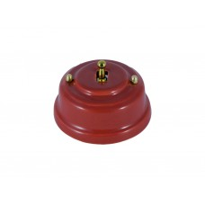 Выключатель однорычажковый фарфоровый, цвет granato (гранатовый), тумблер золото