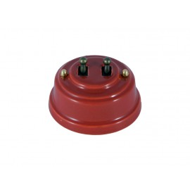 Выключатель двухрычажковый фарфоровый, цвет granato (гранатовый), тумблер бронза