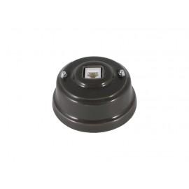 Розетка телефонная RJ 11 фарфоровая, цвет grigio (серый), серебристая фурнитура