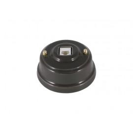 Розетка телефонная RJ 11 фарфоровая, цвет grigio (серый), золотистая фурнитура