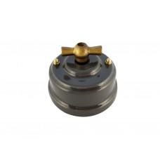 Выключатель (переключатель) фарфоровый поворотный одноклавишный проходной, цвет grigio (серый), ручка бронза