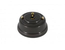 Выключатель однорычажковый фарфоровый, цвет grigio (серый), тумблер золото