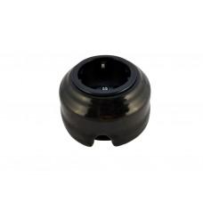 Розетка фарфоровая проходная с/з, цвет nero (черный), серебристая фурнитура