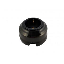 Розетка фарфоровая проходная с/з, цвет nero (черный), золотистая фурнитура