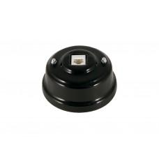 Розетка телефонная RJ 11 фарфоровая, цвет nero (черный), серебристая фурнитура