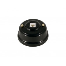 Розетка телефонная RJ 11 фарфоровая, цвет nero (черный), золотистая фурнитура
