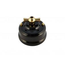 Выключатель фарфоровый поворотный одноклавишный, цвет nero (черный), ручка золото