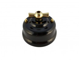 Выключатель фарфоровый поворотный двухклавишный, цвет nero (черный), ручка золото