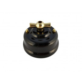 Выключатель (переключатель) фарфоровый поворотный одноклавишный проходной, цвет nero (черный), ручка золото