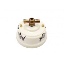 Выключатель (переключатель) фарфоровый поворотный одноклавишный проходной, цвет oriente (восток), ручка бронза