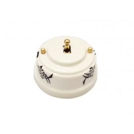 Выключатель (переключатель) фарфоровый однорычажковый проходной на 2 направления, цвет oriente (восток), тумблер золото