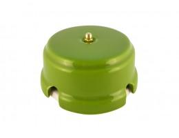 Коробка распаячная монтажная фарфоровая, цвет pistacchio (фисташковый), золотистая фурнитура