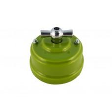 Выключатель (переключатель) фарфоровый поворотный одноклавишный проходной, цвет pistacchio (фисташковый), ручка серебро