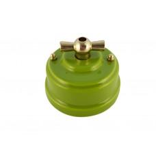 Выключатель (переключатель) фарфоровый поворотный одноклавишный проходной, цвет pistacchio (фисташковый), ручка золото