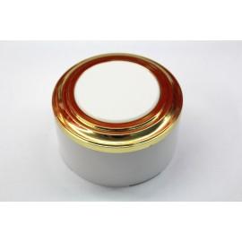 Пластиковая распаячная коробка (белая заглушка, золотая рамка, белый стакан)
