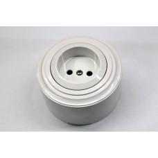 Пластиковая розетка без з/к, со шторками (белый механизм, белая рамка, белый стакан)