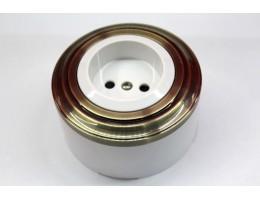 Пластиковая розетка без з/к, со шторками (белый механизм, бронзовая рамка, белый стакан)
