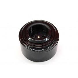 Пластиковая розетка без з/к, со шторками (черный механизм, черная рамка, черный стакан)