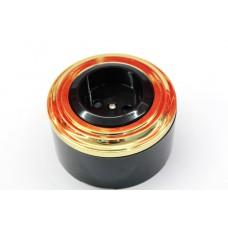 Пластиковая розетка без з/к, со шторками (черный механизм, золотая рамка, черный стакан)