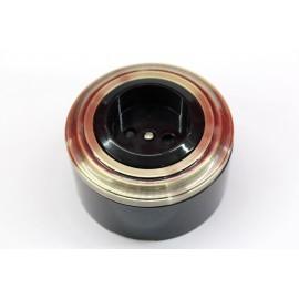 Пластиковая розетка без з/к, со шторками (черный механизм, бронзовая рамка, черный стакан)