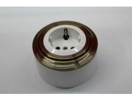 Пластиковая розетка с з/к, со шторками (белый механизм, бронзовая рамка, белый стакан)