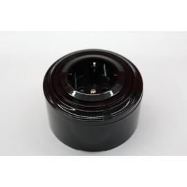Пластиковая розетка с з/к, со шторками (черный механизм, черная рамка, черный стакан)