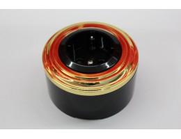 Пластиковая розетка с з/к, со шторками (черный механизм, золотая рамка, черный стакан)