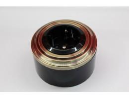 Пластиковая розетка с з/к, со шторками (черный механизм, бронзовая рамка, черный стакан)